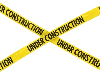 Yellow UNDER CONSTRUCTION Barrier Tape Cross