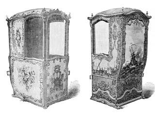 Sedan chair held at the Musee de Versailles, vintage engraving.