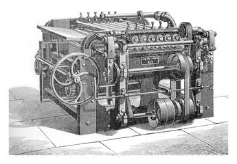 Fulling rollers, vintage engraving.