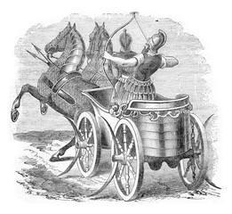 Chariot warrior, vintage engraving.