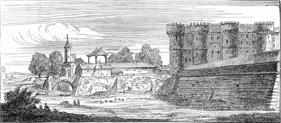 The Bastille, after an old engraving of the topography of Paris,