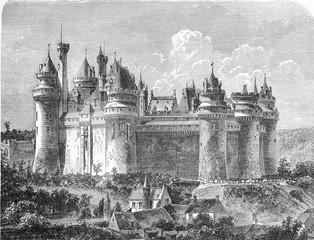 Chateau de Pierrefonds, vintage engraving.