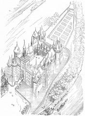 Creil Castle, vintage engraving.