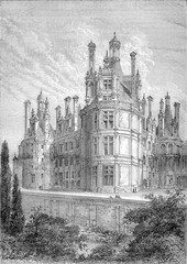 Chambord Castle with its ancient graves, vintage engraving.