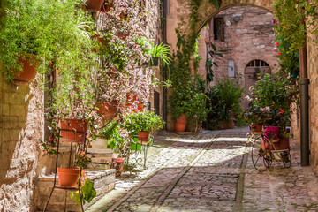 Wonderful decorated porch in small town in Italy in summer, Umbria