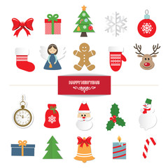 Christmas decorative elements and stickers set isolated on white.