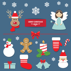 Christmas decorative elements and cute stickers set.