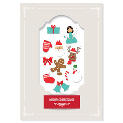 Christmas card design with cutout frame and cute stickers.