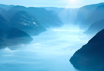 Summer morning view on Lysefjorden (Norway)