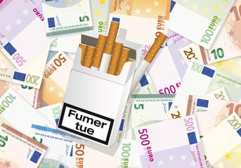 Paquet Cigarette-Fond Billets