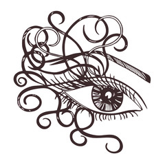 Drawn eye.Graphic style. Black