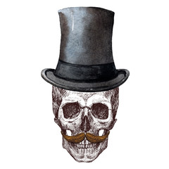 Raster Skull with hat