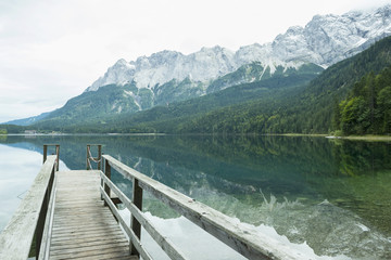 Zugspitze reflecting in Eibsee lake, Bavaria, Germany