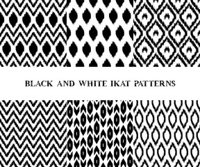 Black and white geometric ikat asian traditional fabric seamless
