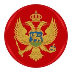 Montenegrin Flag Badge - Flag of Montenegro Button Isolated on White