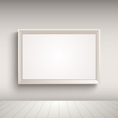 Empty advertising board on the wall template