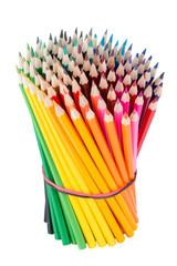 Bundled upright wooden colour pencils