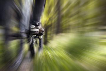 Mountain biker in the forest, zoom burst effect