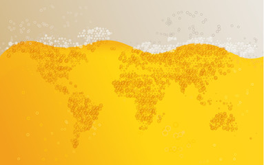 World map beer background