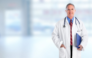Elderly hospital doctor man.