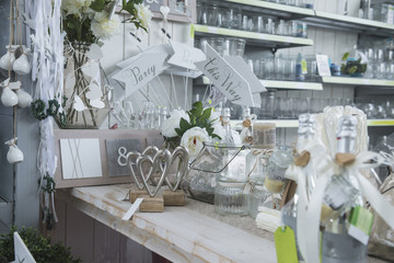 Showpieces and vases in garden centre for sale, Augsburg, Bavaria, Germany