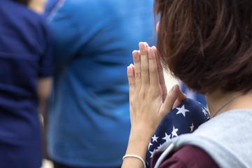 Asian woman pray for buddha