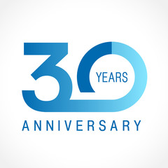 30 anniversary classic logo. The plain ordinary logotype of 30th birthday.