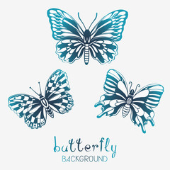 Three Stylized Butterflies