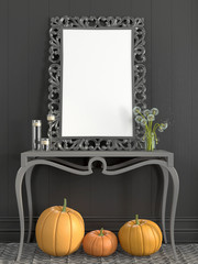 Grey  frame on the table and fall decor of pumpkins