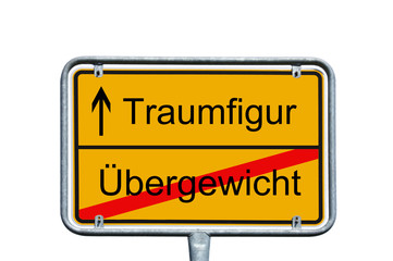 dream figure / Sign with the german words dream figure and overweight