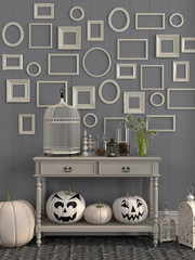 Beige table with  decorations for Halloween