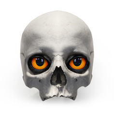 Fototapete - Human skull with evil eyes on white background.