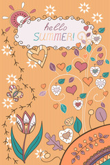 Template for invitation cards. Beautiful greeting card. Summer holiday doodle background. Hand drawn ornaments. Vector cards design.