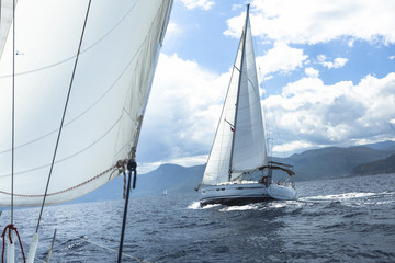 Sailing. Ship yachts with white sails in the open Sea. Luxury Lifestyle.