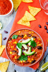 Chipotle red bean tortilla soup