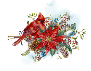 Christmas greeting card with poinsettia and bird red cardinal