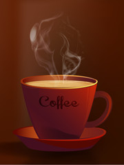 Hot Coffe Cup/Coffee cup with abstract white steam