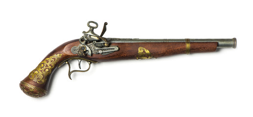 flintlock pistol on a white background