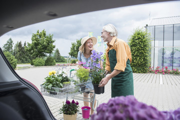 Shop assistant helping a customer putting plants in a car trunk, Augsburg, Bavaria, Germany