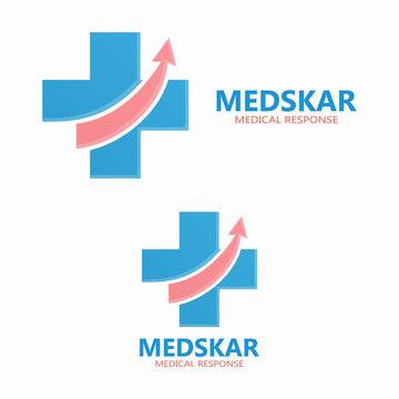 Vector medical logo with up arrow symbol