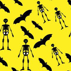 Black skeleton and bat on yellow