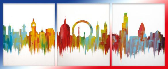 London colorful art acrylic painting Wall mural
