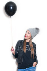 hipster girl with balloon