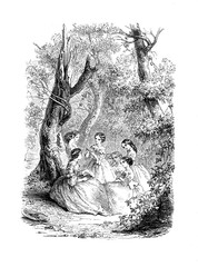 Vintage black and white engraving, girls reading outdoor