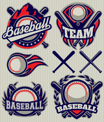 set sports template with ball and bats for baseball