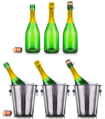 Luxury champagne collection isolated
