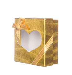 Gold gift box with heart shape isolated on white background