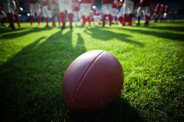 Close up of an american football on the field, players in the ba