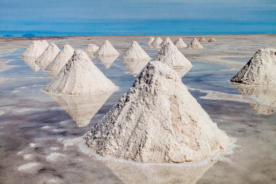 Hills of salt - salt extraction area at the world's biggest salt plain Salar de Uyuni, Bolivia