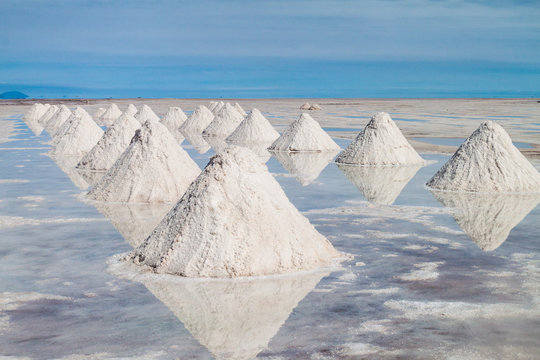 Hills of salt - salt extraction area at the world's biggest salt plain Salar de Uyuni, Bolivia